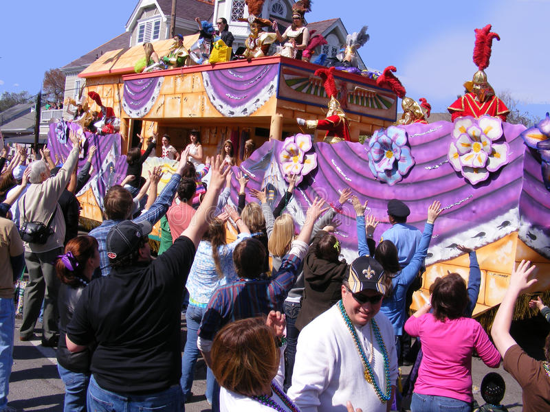 Travel-New Orleans-Mardi Gras Parade and People at Parade. Travel-Louisiana, New Orleans, Mardi Gras Parade with Parade People royalty free stock photos