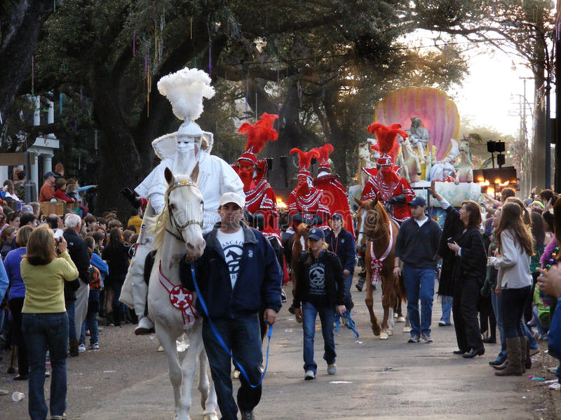 Travel-New Orleans-Mardi Gras Parade-St, Charles Avenue royalty free stock photos