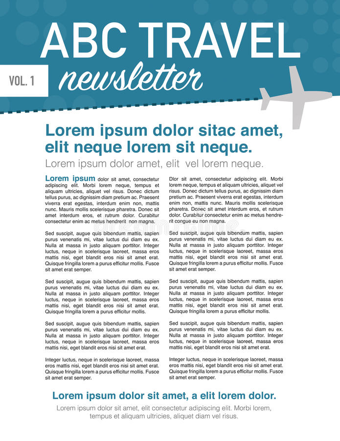 Travel newsletter page layout. Page layout newsletter for use with travel business royalty free illustration