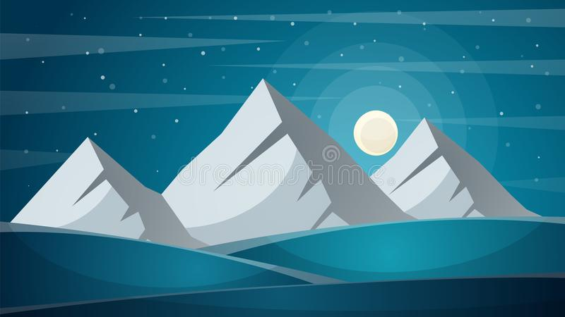 Travel night cartoon landscape. Fi, mountain, comet, star, moon, royalty free illustration