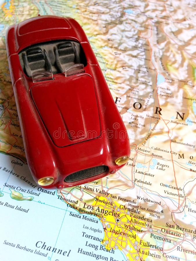 Travel North America. Concept of traveling through North America and reaching destination - Los Angeles royalty free stock images
