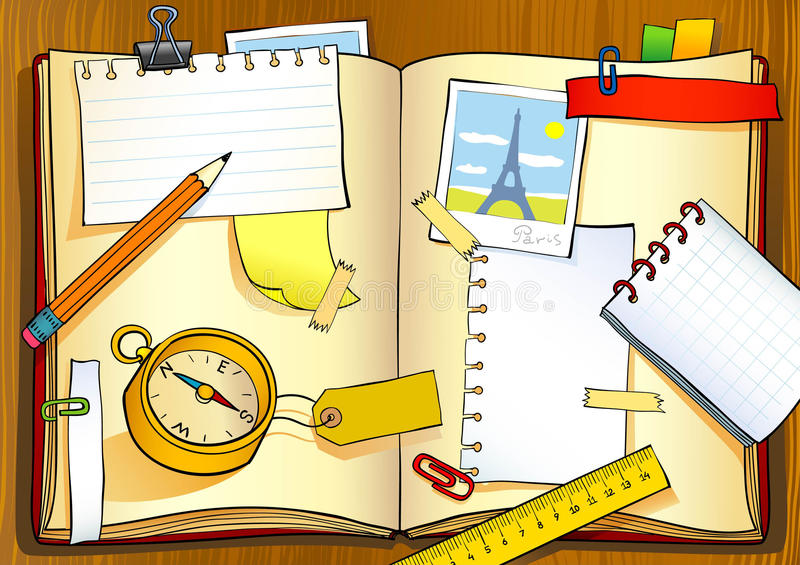 Download Travel notebook stock vector. Image of ruler, paper, book - 10279233