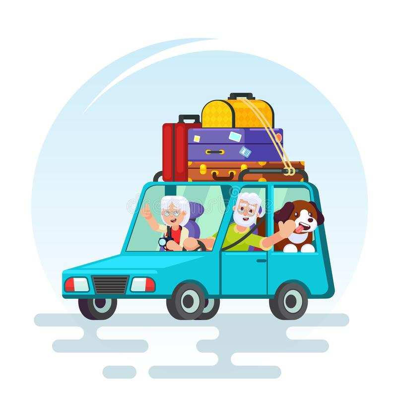 Travel in old age concept. Flat design. Elderly couple with baggage, car and dog going on journey. Grandparents summer vaca. Tion. Picture for agency ad vector illustration
