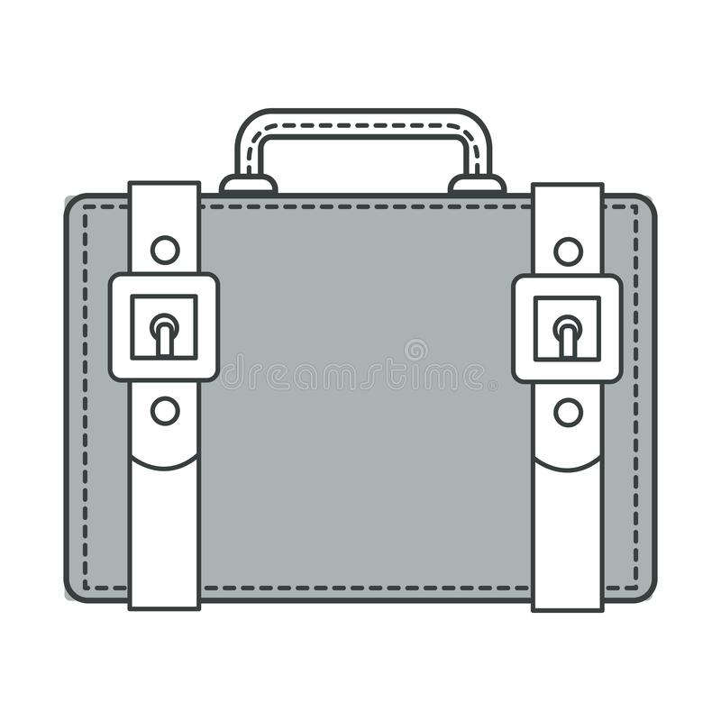 Travel old-fashioned suitcase with belts detailing and handle stock illustration