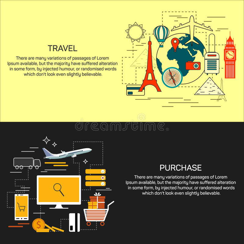 Travel and online shopping concept banners in line flat style. Vector illustration.Bbooking, ticket purchase, world royalty free illustration
