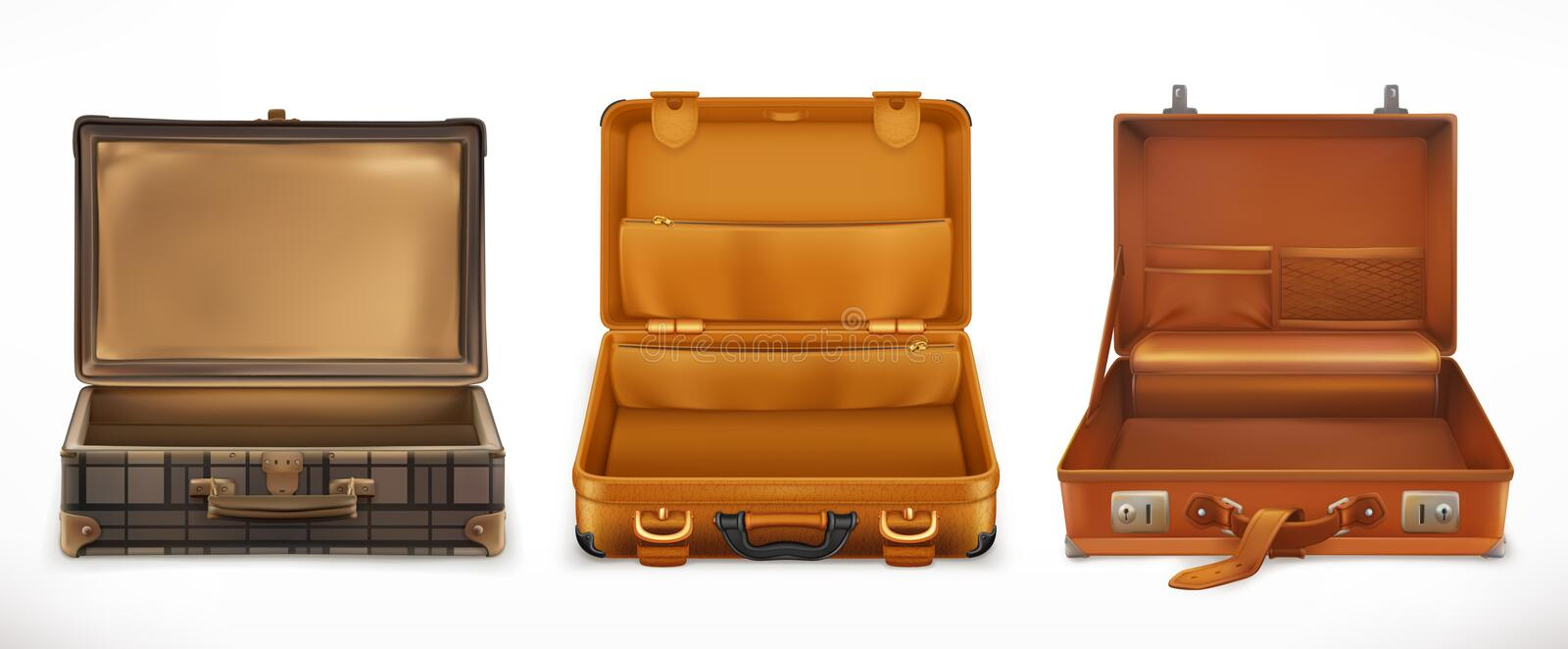 Travel. Open Suitcase. vector icon set royalty free illustration