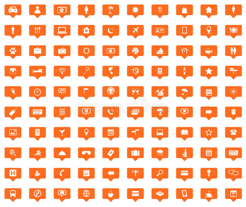100 Travel orange message icons set royalty free illustration