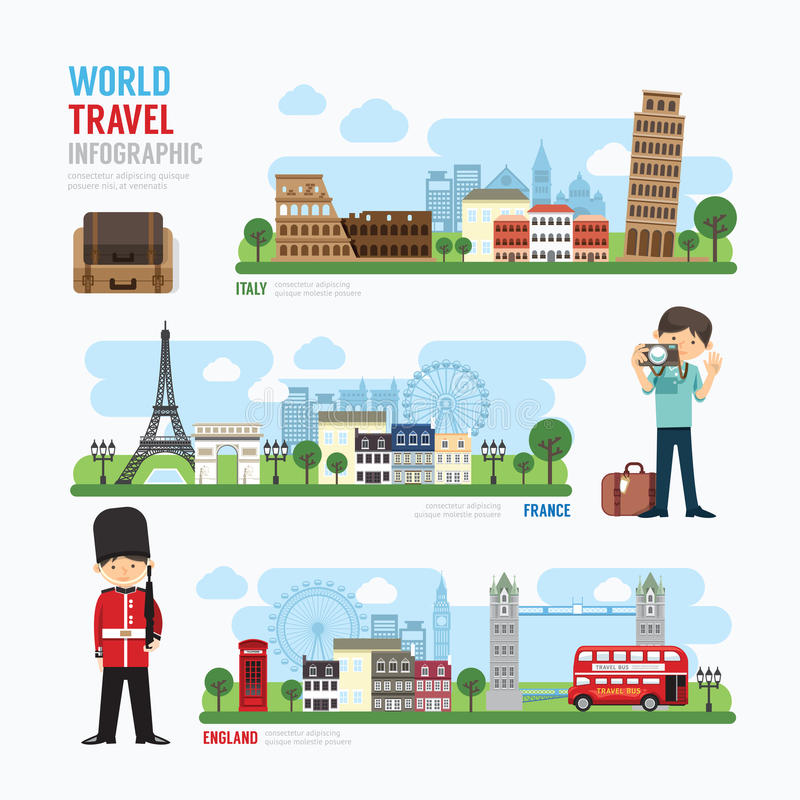 Travel and outdoor Europe Landmark Template Design Infographic. stock illustration