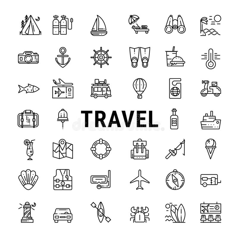 Travel outline web icon set. Vector line icons of beach, camping, mountains  journey, vacation, cruise  .and hotel services royalty free illustration