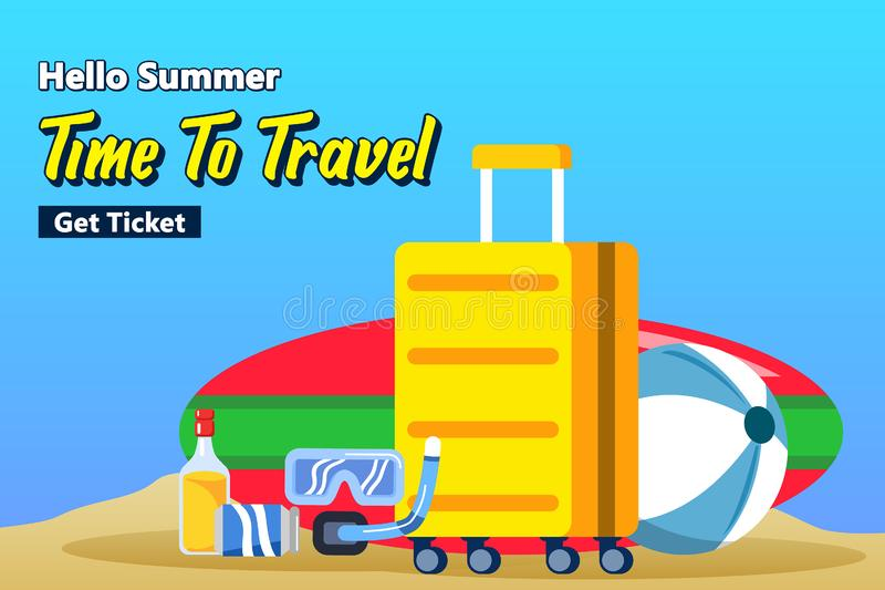 Travel Packing Suitcase For Beach Vacation Poster royalty free illustration