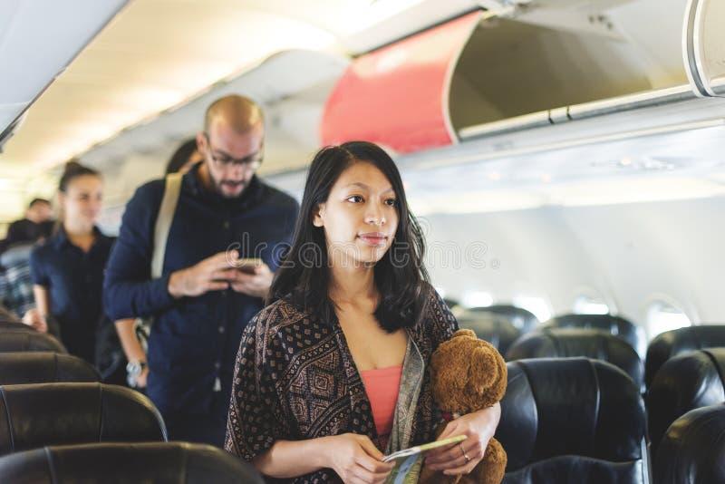 Travel Passenger Aeroplane Transportation Concept. Travel Passenger Aeroplane Transportation Vacation stock photography