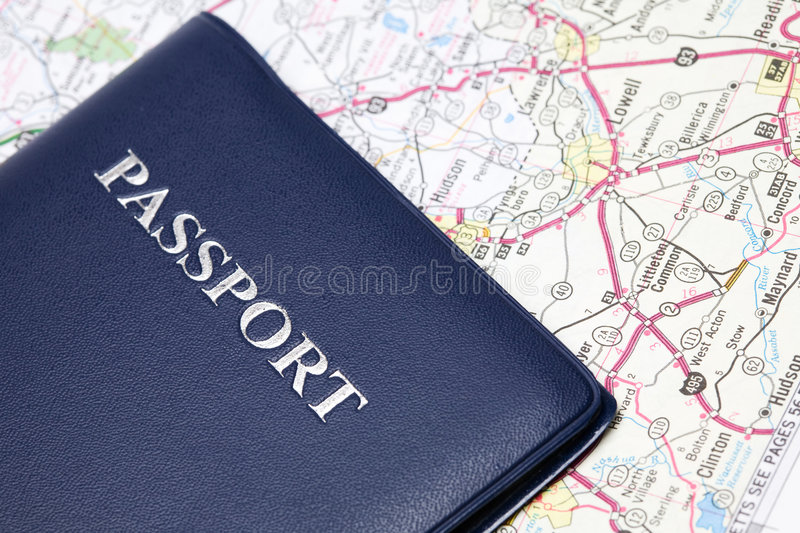Travel passport. A shot of a passport and a map, can be used for travel concept royalty free stock image