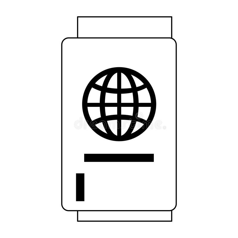 Travel passport document symbol isolated in black and white stock illustration