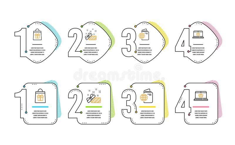 Travel passport, Holidays shopping and Present icons set. Online shopping sign. Trip document, Gifts bag, Gift. Vector. Travel passport, Holidays shopping and stock illustration