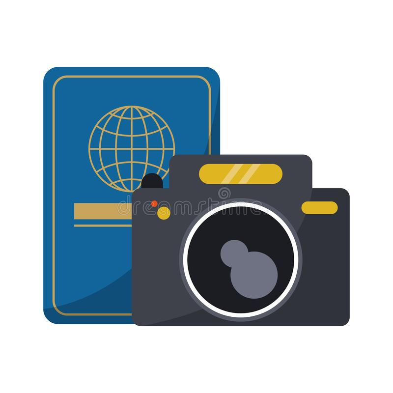 Travel passport and photographic camera royalty free illustration