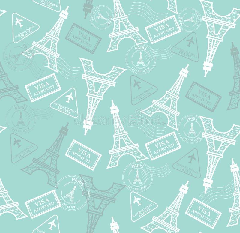 Download Travel Pattern Stock Vector Illustration Of Eiffel Scrapbook