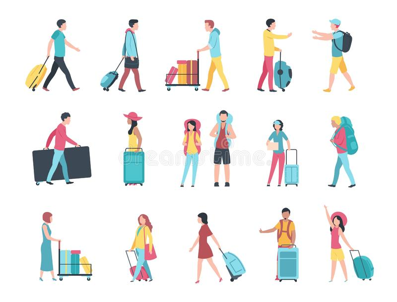 Travel people. Airport tourist baggage crowd passengers check passport control terminal queue. People with luggage royalty free illustration