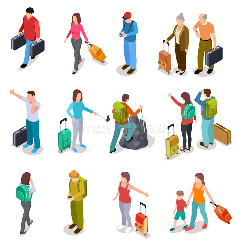Travel people isometric set. Men, women and kids with luggage. Tourist family, passengers and baggage. Tourism vector. Collection. Illustration of people travel stock illustration