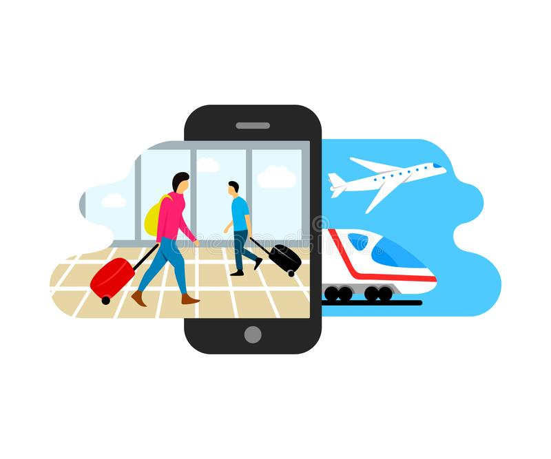 Travel, people with suitcases go to the airport and railway station with train and airplane, vector illustration and design. Travel, people with suitcases go to stock illustration