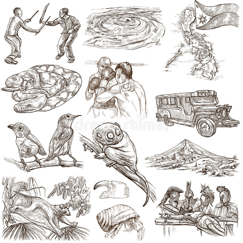 Travel - Philippines. Full sized hand drawings on white stock illustration