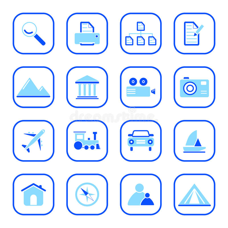 Travel and Photo icons - blue series. Set of travel and photo computer icons - blue series. Easy to edit, modify size of elements, etc royalty free illustration