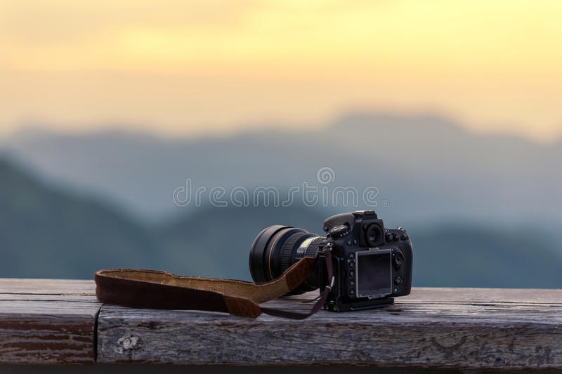 Travel photographer equipment with beautiful landscape on the ba royalty free stock photo