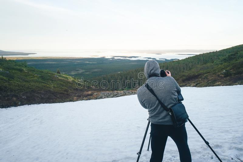 Photographer is Shooting in the Mountains stock image