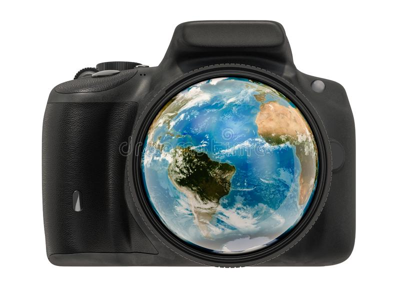 Travel and photography concept. Digital camera photo lens with earth globe inside, 3D rendering royalty free illustration