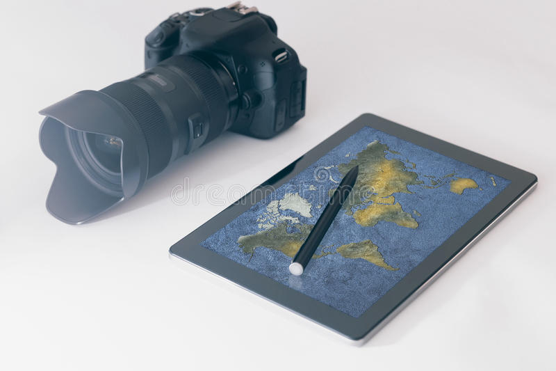 Travel photography concept, DSLR, digital tablet stock photo