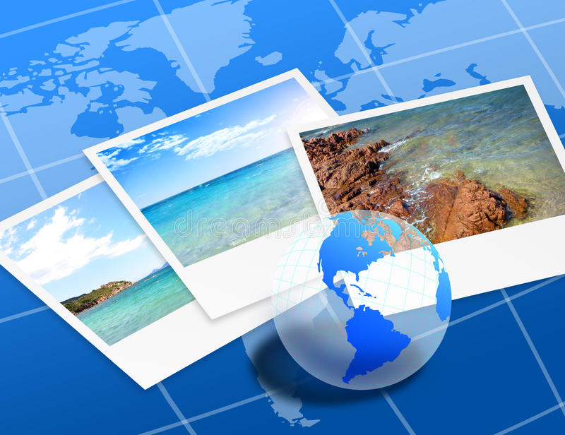 Travel photos. On the map and globe of the earth
