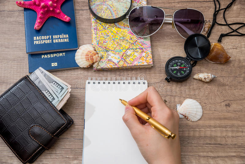 Travel picture set. On desk stock photo