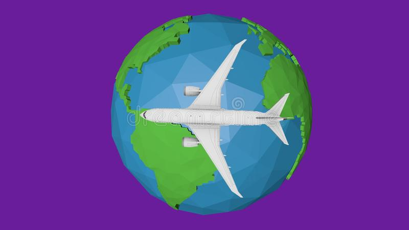 Travel by plane abstract background. Blue earth globe 3d illustration royalty free illustration