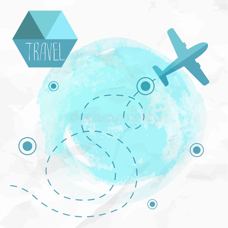 Travel by plane. Airplane on his destination route. Watercolor blue background and flat style airplane royalty free illustration