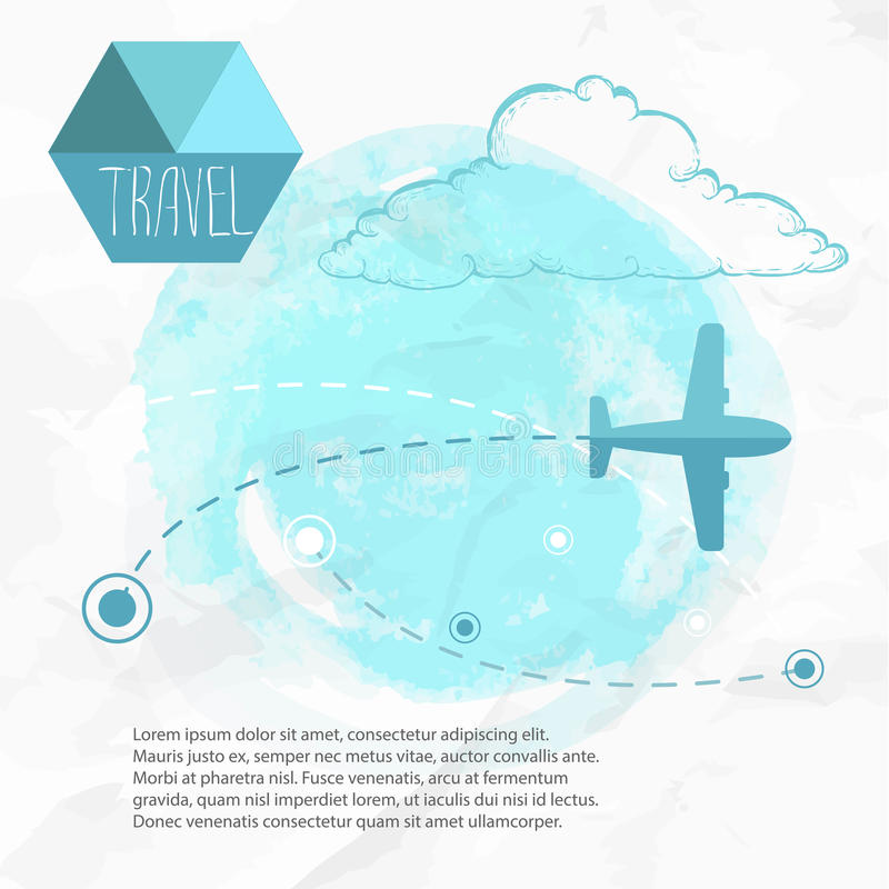 Travel by plane. Airplane on his destination routes. Watercolor blue background and flat style airplane. hand drawn sketch style cloud. Air traffic vector royalty free illustration