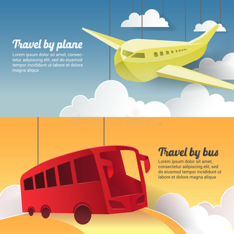 Travel by Plane and Bus. Paper Cut Out Tourism Banner stock illustration