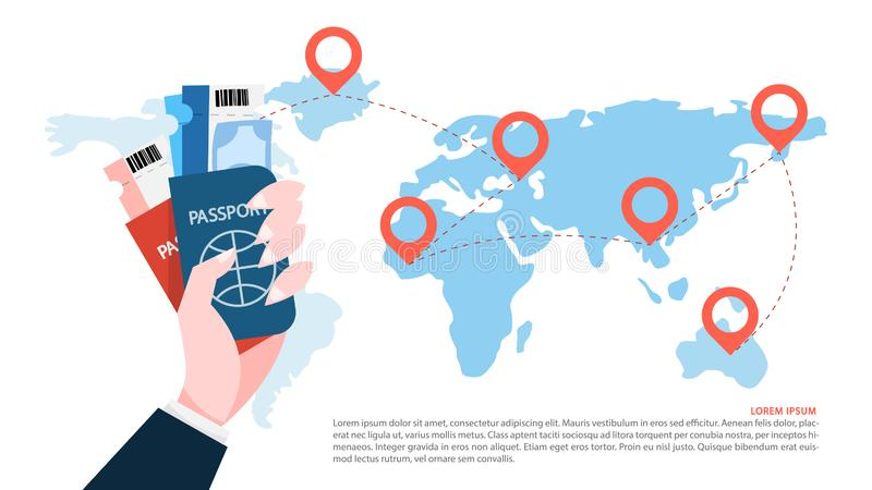 Travel by plane concept. Hand holding passport vector illustration