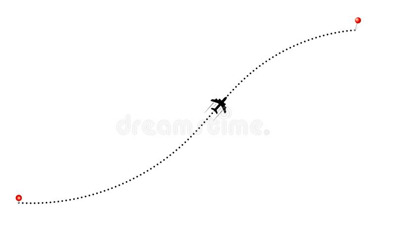 Travel by plane concept. Aerial rounte and plane icon stock illustration