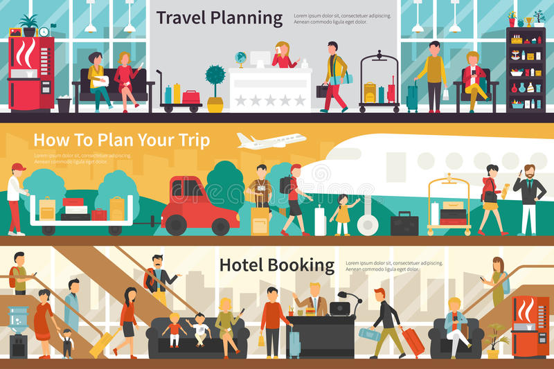 Travel Planning How To Plan Your Trip Hotel Booking flat interior outdoor concept web stock illustration