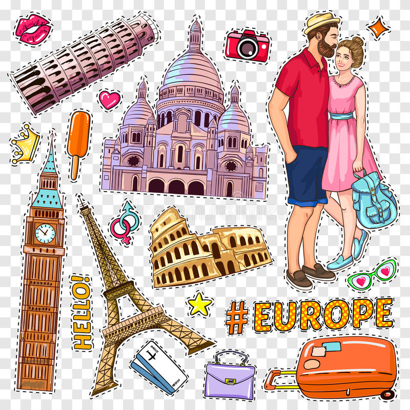 Travel Pop Art Patches Set. With famous buildings loving couple on transparent background isolated vector illustration stock illustration