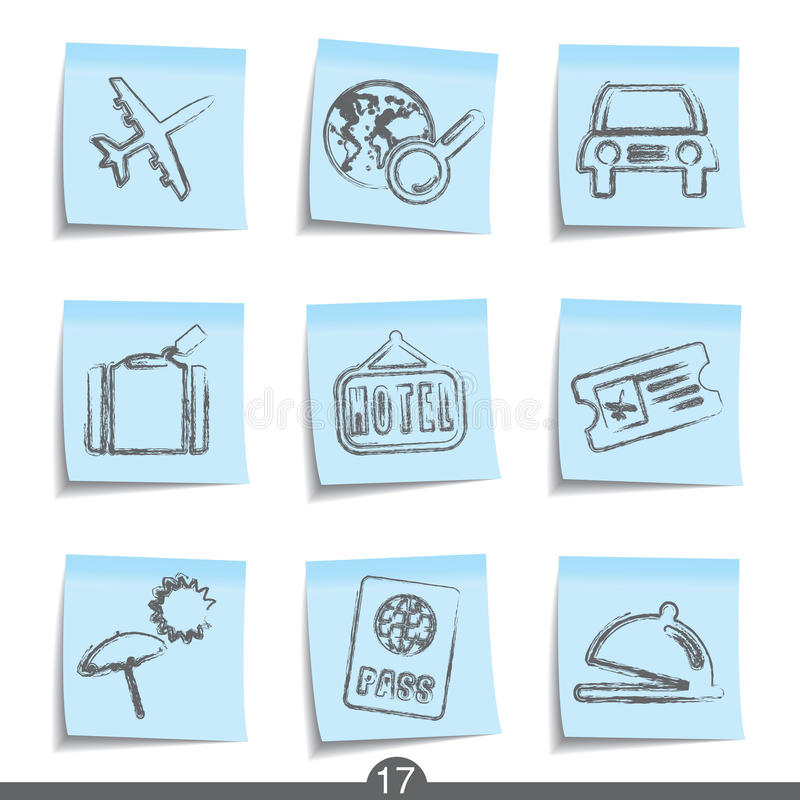 Download Travel Post It Icons..series No.17 Royalty Free Stock Photo - Image: 14173415