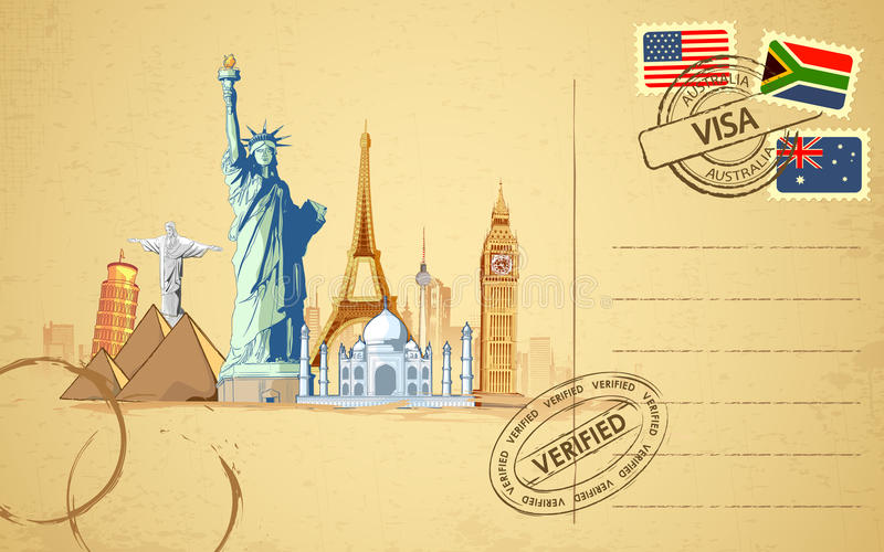 Travel Postcard. Illustration of world famous monument on travel postcard