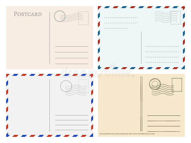 Travel postcard templates. Greetings post cards backside vector set stock illustration