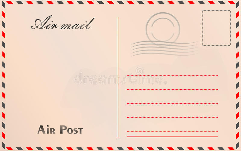 Travel postcard vector in air mail style with paper texture and royalty free illustration
