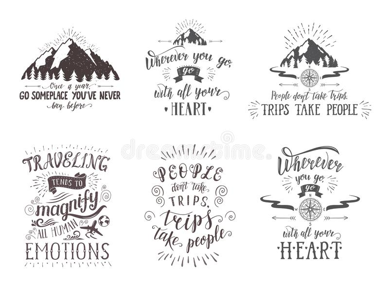 Travel postcards. Set of tourism banners with hand-lettering quotes. Hand drawn sketch vector illustrations of mountains and slogans for t-shirts vector illustration
