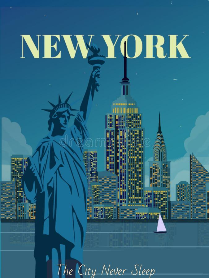 Travel poster illustration of New York city ,vector landscape building and the statue of liberty,. Travel poster illustration of new york city vector landscape royalty free illustration