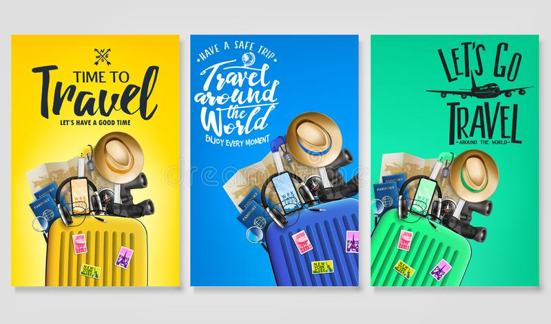 Travel Poster Set Template with Traveling Bag and Message Logo Text in Gradient Background. With Mesh 3D Realistic Travel Elements. Vector Illustration royalty free illustration