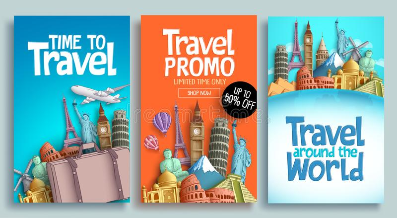 Travel poster set vector template design with promo text royalty free illustration