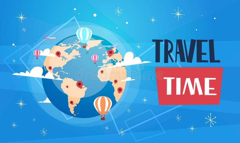 Travel Poster With Worlds Globe On Blue Background Retro Tourism Banner vector illustration