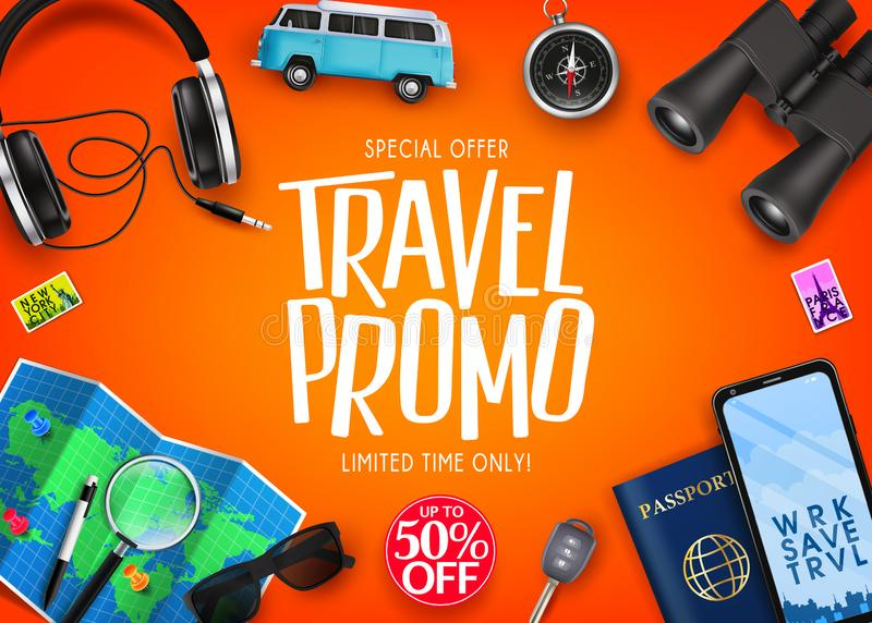 Travel Promo Ads Banner Up To 50% Off Special Offer with Vector 3D Realistic Traveling Item Elements vector illustration