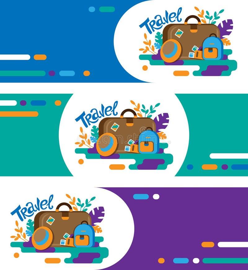 Travel promo banner set. Travel illustrations stock illustration